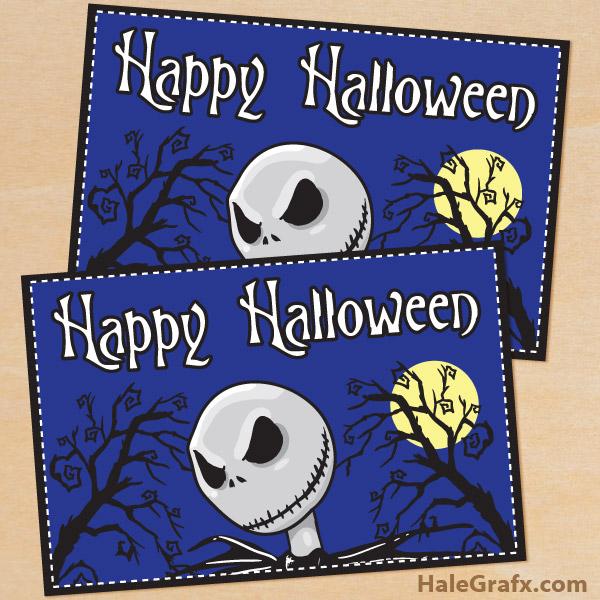 FREE Printable Nightmare Before Christmas Halloween Card