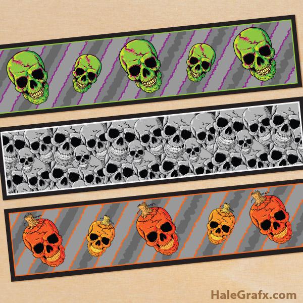 FREE Printable Halloween Skulls Water Bottle Labels