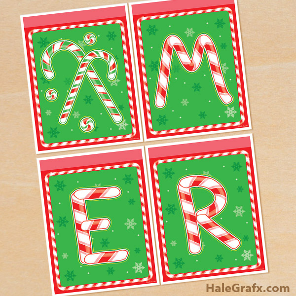 graphic relating to Printable Merry Christmas Banner named Totally free Printable Xmas Sweet Cane Bash Banner