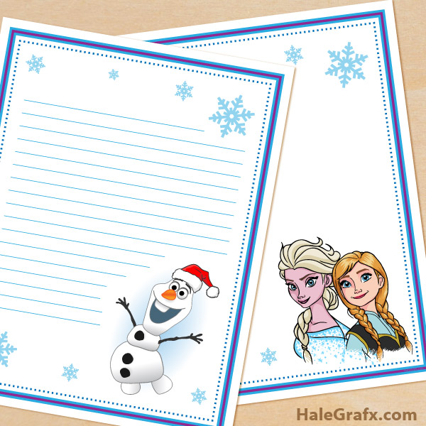 Free Printable Frozen Themed Stationery Set Disney Princess Templates Stationary