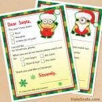 FREE Printable Minion Letters to Santa Claus