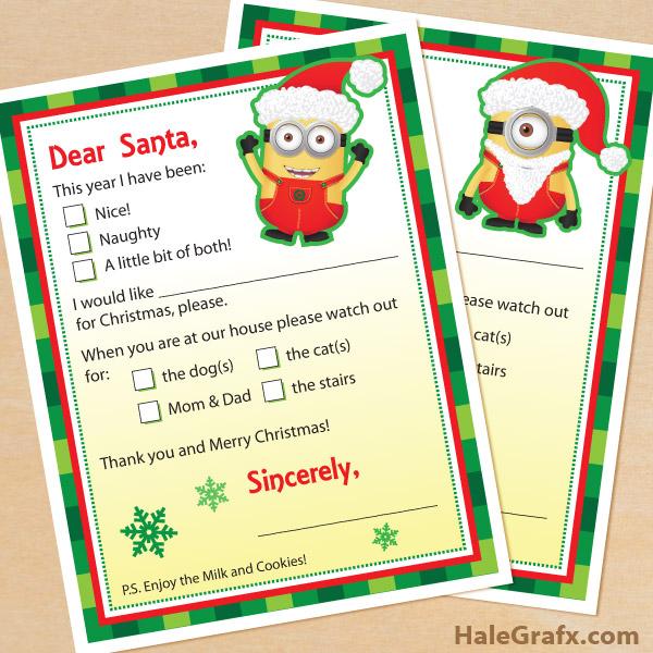 printable minion letters to santa claus