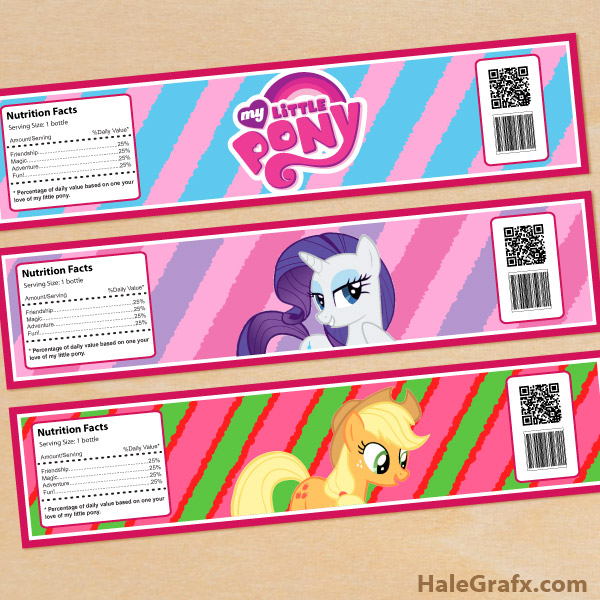 free printable my little pony water bottle labels