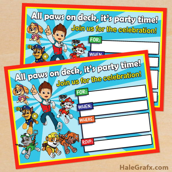 Free printable paw patrol birthday invitation for Printable paw patrol invitations
