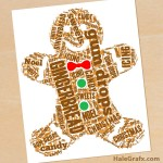 FREE Printable Christmas Gingerbread Man Word Art
