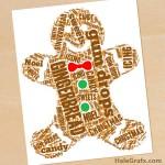 FREE Printable Christmas Gingerbread Man Word Art