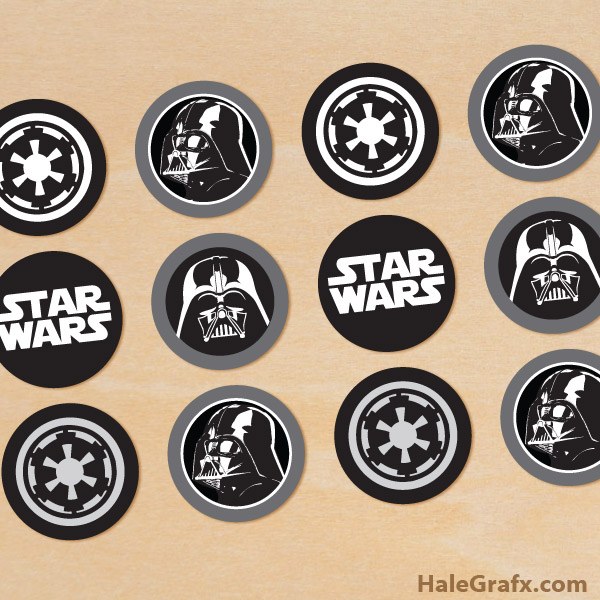 picture relating to Printable Star Wars Images referred to as Absolutely free Printable Star Wars Darth Vader Cupcake Toppers