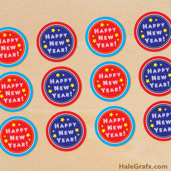 FREE Printable Happy New Year Cupcake Toppers