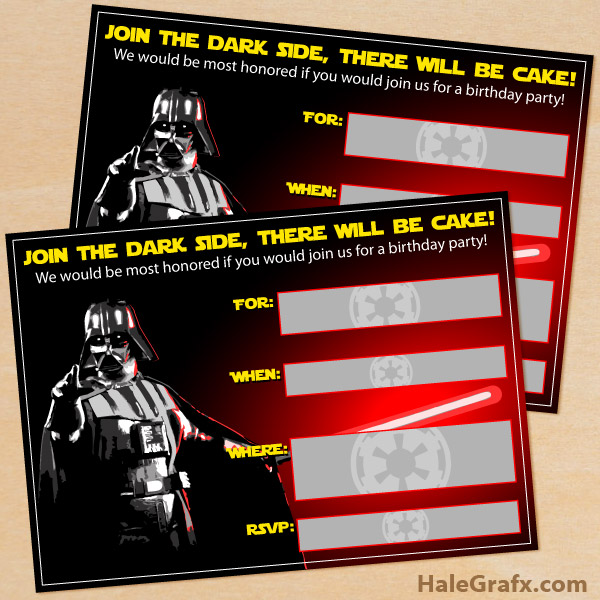 printable star wars darth vader birthday invitation, Party invitations