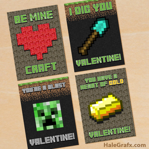 Smart image inside minecraft valentine box printable