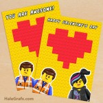 FREE Printable LEGO Movie Valentine's Day Greeting Card Set