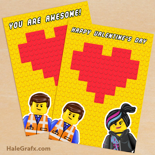 Free Printable Lego Movie Valentine S Day Greeting Card Set