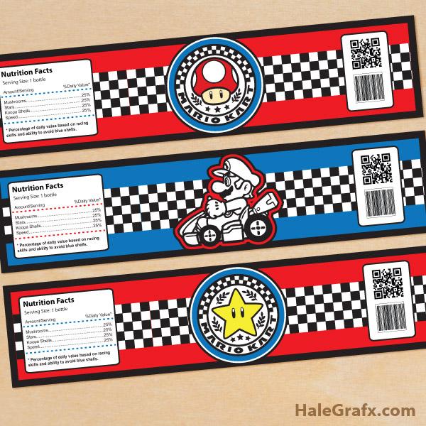 FREE Printable Mario Kart Water Bottle Labels