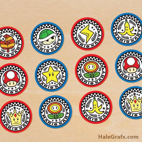 FREE Printable Mario Kart Cupcake Toppers