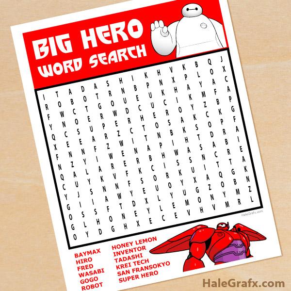 FREE Printable Big Hero 6 Word Search