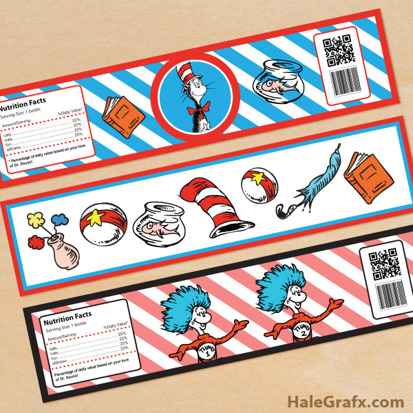 FREE Printable Dr. Seuss Cat in the Hat Water Bottle Labels