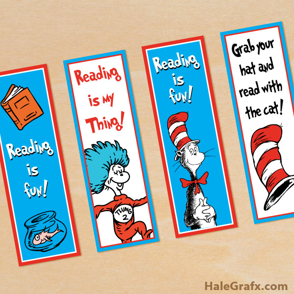 free printable dr seuss cat in the hat bookmarks, printable coloring