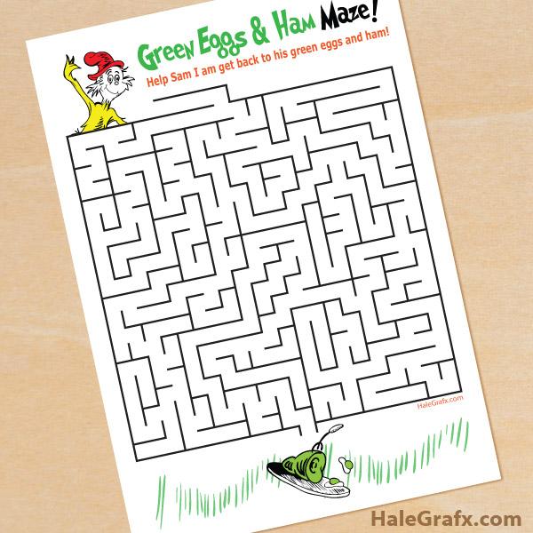 Printable Dr Seuss Green Eggs and Ham Maze