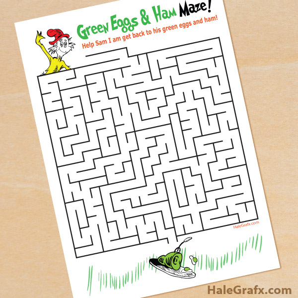 FREE Printable Dr Seuss Green Eggs And Ham Maze