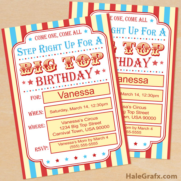 Bewitching image within printable carnival birthday invitations
