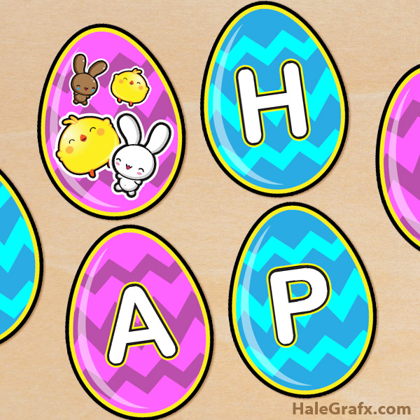 free printable easter egg banner set