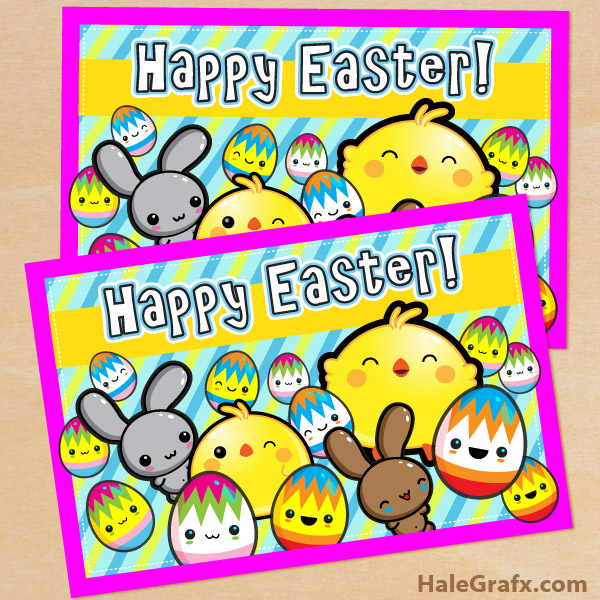 FREE Printable Cute Kawaii Easter Card