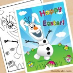 FREE Printable Frozen Olaf Easter poster and Coloring Page