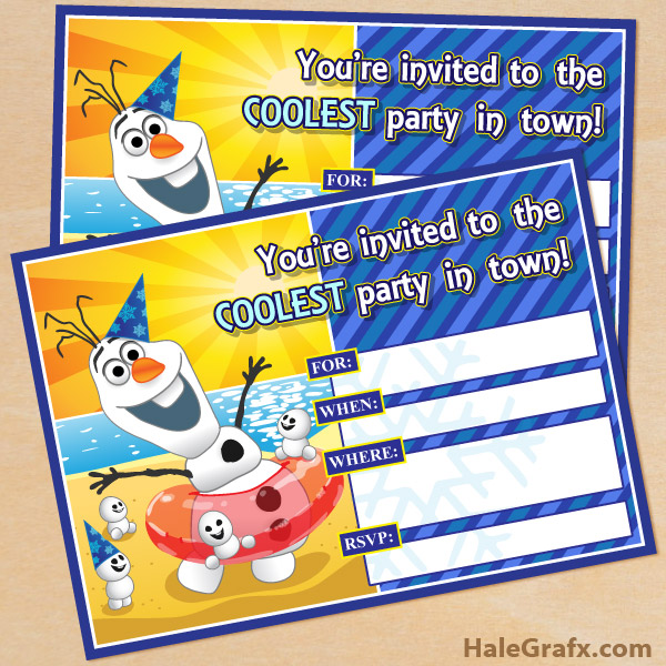 frozen olaf invitation1 FREE Printable Frozen Olaf Birthday Party ...