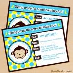 FREE Printable Mod Monkey Blue Birthday Invitation Set