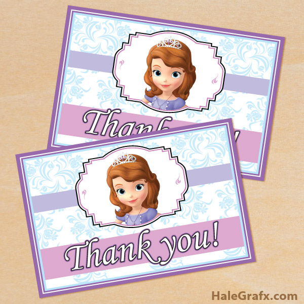 Printable Sofia the First Thank You Card – Printable Birthday Thank You Cards