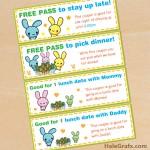 FREE Printable Kawaii Easter Bunny Coupon Set