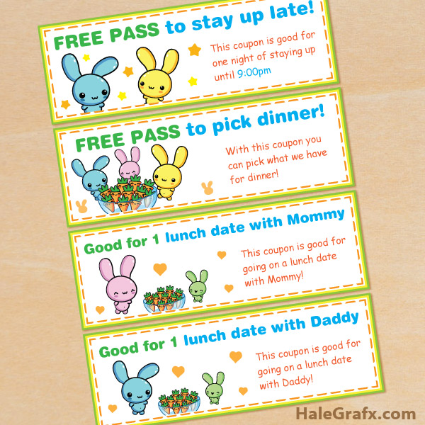 FREE Printable Kawaii Easter Bunny Coupon Set