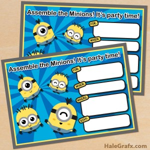 Free printable kawaii minion invitations
