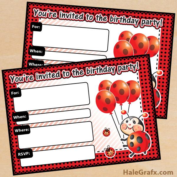 FREE Printable Ladybug Birthday Invitation