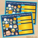 FREE Printable Cute Disney Tsum Tsum Birthday Invitation