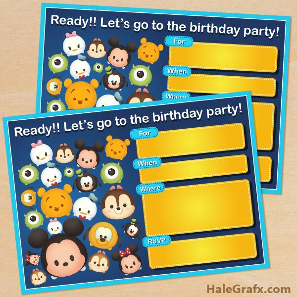 Free printable cute disney tsum tsum birthday invitation filmwisefo