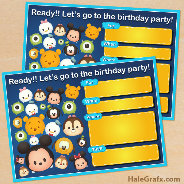 printable cute disney tsum tsum birthday invitation, Birthday invitations