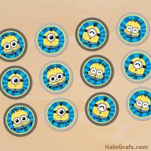 kawaii minion cupcake toppers