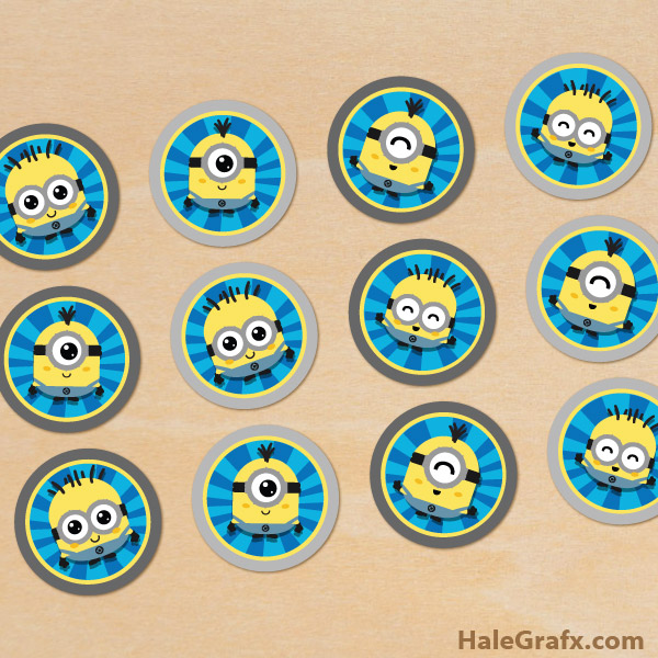 image relating to Minion Symbol Printable referred to as Cost-free Printable Kawaii Minions Cupcake Toppers