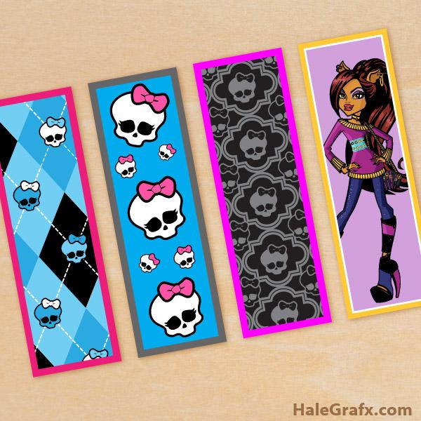 FREE Printable Monster High Bookmarks