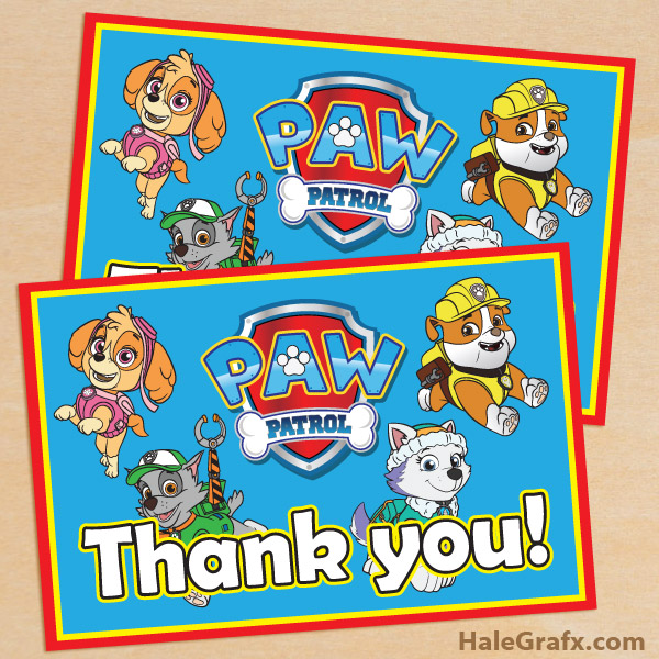 FREE Printable Paw Patrol Thank You Card