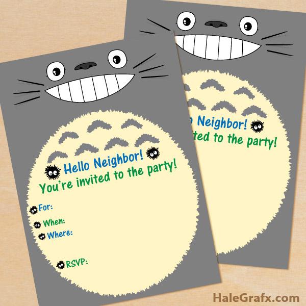 FREE Printable My Neighbor Totoro Birthday Invitation
