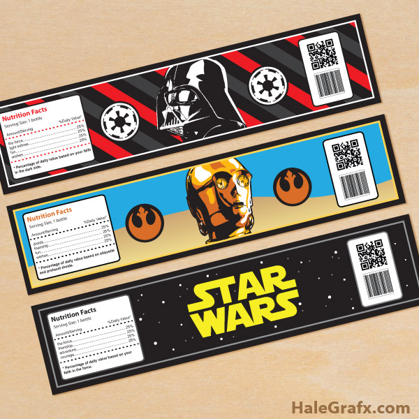 graphic about Printable Starwars Pictures named Free of charge Printable Star Wars H2o Bottle Labels