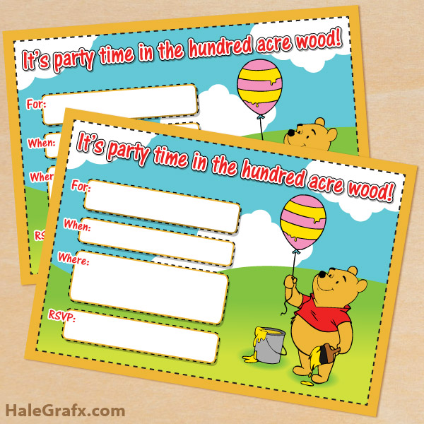 free printable winnie the pooh birthday invitation