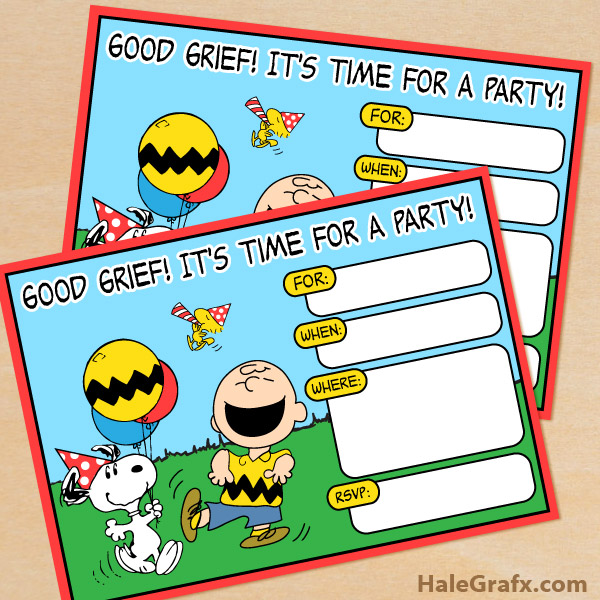 Printable Peanuts Birthday Invitation – Snoopy Party Invitations