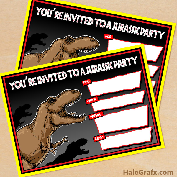 FREE Printable Jurassic Park TRex Birthday Invitation