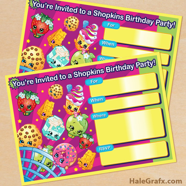 picture relating to Free Printable Shopkins Invitations titled Absolutely free Printable Shopkins Birthday Invitation