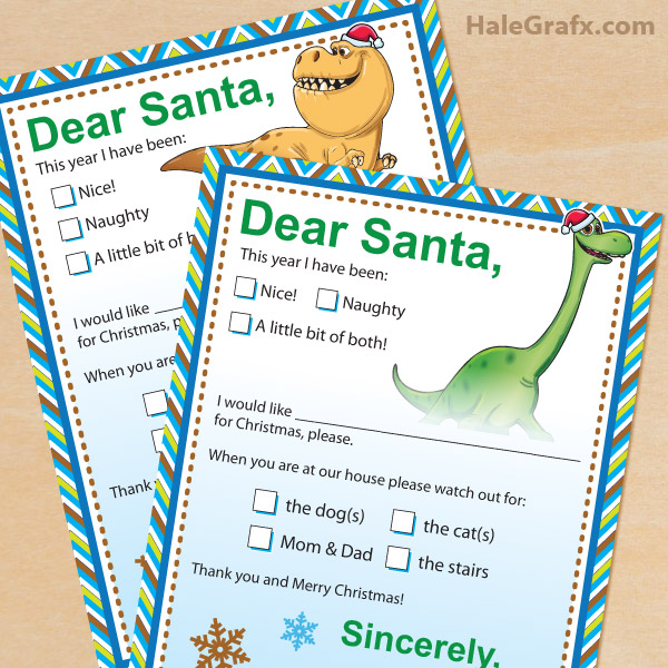 FREE Printable The Good Dinosaur Letters to Santa Claus