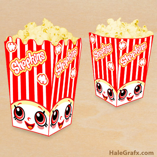 image about Popcorn Box Printable referred to as Cost-free Printable Shopkins Popcorn Box