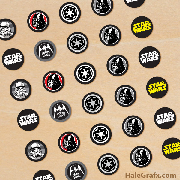 photo about Printable Star Wars Images titled Totally free Printable Star Wars Empire Hersheys Kisses Stickers